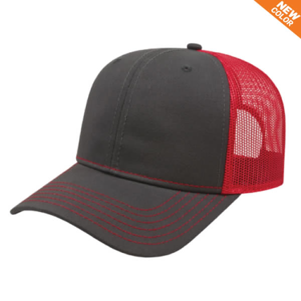 Charcoal/Red Modified Flat Bill with Mesh Back Cap